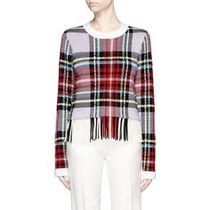 Chloé Colourblock fringe hem plaid sweater ($1,335) ❤ liked on Polyvore featuring tops, sweaters, block sweater, chloe top, plaid top, tartan top and checkered top