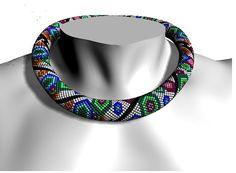 Color burst colorful geometric hexagon bead crochet by Shinkabeads