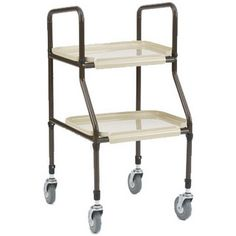 Handy Trolley - £39.99  This is an adjustable height metal trolley with two easy clean, detachable plastic trays and 4 castors.