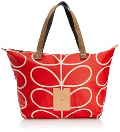 Orla Kiely Linear Stem Zip Shopper Shoulder Bag, Vermillion, One Size
