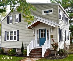 Before and After shots....great redo house exterior after reno-Laurel's SoPo Cottage