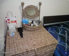 Поделка изделие Плетение Место для макияжа Трубочки бумажные фото 5