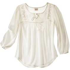Mossimo Supply Co. Juniors 3/4 Sleeve Top - Assorted Colors (€11) ❤ liked on Polyvore featuring tops, shirts, tops/outerwear, dog bone and women's clothing