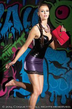 a8f13596a20 Wet Look Tank Top Plaid Mini Skirt