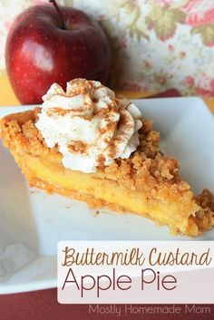 Buttermilk Custard Apple Pie - Sauteed apples combine with a sweet buttermilk custard and crumb topping to make the BEST apple pie!
