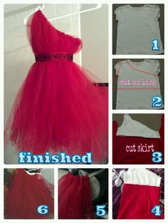 How to make my one shoulder tutu flower dresses! I decided to make a lining so the kids wont get itchy wearing a tutu. Step 1 cut the tshirt. Step 2 cut a skirt out of fabric. Step 3 sew it together to make a lining. Step 4 wrap tulle around elastic to make a tutu. Step 5 add the tutu to the lining. Step 6 (optional) sew the top of the tutu to the top of the lining. Step 7 add a ribbon around the dress. Now your finished!