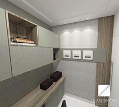 Ao projetarmos ambientes pequenos devemos pensar em soluções para ampliar visualmente este espaço, através das cores, materiais e principalmente do mobiliário. Neste home office o mobiliário foi feito sob medida, aproveitando todos os espaços possíveis, com bancada e armário em L, além do papel de parede em tom claro
