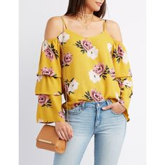 Charlotte Russe Floral Ruffle-Trim Cold Shoulder Top ($22) ❤ liked on Polyvore featuring tops, blouses, multi, off-the-shoulder blouses, yellow blouse, off the shoulder bell sleeve top, floral print blouse and cold shoulder blouse