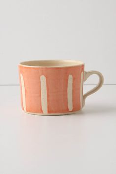 "Squat Stripes Mug Stoneware Dishwasher and microwave safe 16 oz 3.75""H, 4"" diameter Handmade in South Africa"