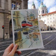 """Екатерина Ватиска, гид в Праге on Instagram: """"Art meets reality in #Prague❤️ . Искусство встречается с реальностью в Праге❤️ . #praha #praga #malastrana #watercolor #aquarelle…"""" Прага"""