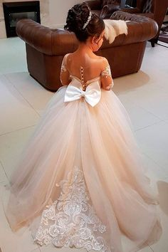Must Haven 2018: 15 Lace Flower Girl Dresses ❤ lace flower girl dresses blush illusion sleeves with bow vintagerosebyhannahaj ❤ Full gallery: https://weddingdressesguide.com/lace-flower-girl-dresses/
