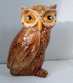 Vintage Owl Figurine Glossy Tan Body with Yellow Eyes – VintageVirtue.net