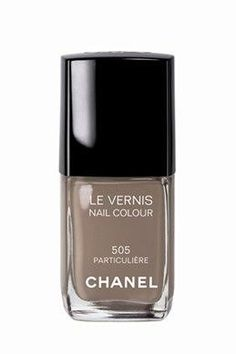 Chanel 505 Particuliére nail polish: The absolute most intriguing and versatile polish I've found to date.  It's like a browny-taupey-slate. Works with brights, earth tones and blacks.