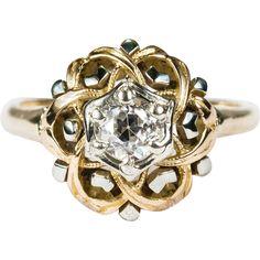 Art Deco Natural Old European Cut Diamond Ring 14k Gold Solitaire Diamond Engagement Ring