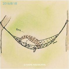 943 ハンモック sleeping in a hammock Hedgehog Art, Hedgehog Drawing, Cute Hedgehog, Doodle Drawings, Cute Drawings, Creation Art, Cute Illustration, Cute Cartoon, Cute Art
