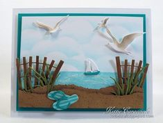KC Impression Obsession Beach Fence handmade card with beach Impression Obsession Cards, Nautical Cards, Beach Cards, Retirement Cards, Birthday Cards For Men, Marianne Design, Greeting Cards Handmade, Handmade Greetings, Masculine Cards
