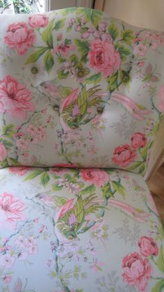 pink and green roses slipper chair by Vintagewhitecottage on Etsy