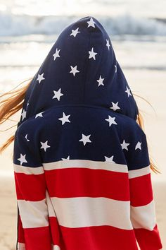 A stars-and-stripes hoodie is perfect for 4th of July beach outings and family bonfires. Shop now.