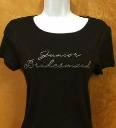 Rhinestone Bling Junior Bridesmaid in Script Wedding Shirt Custom NWT #Bella #EmbellishedTee