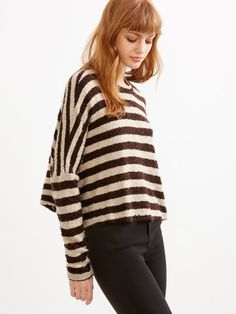 Contrast Striped Batwing Sleeve T-shirt