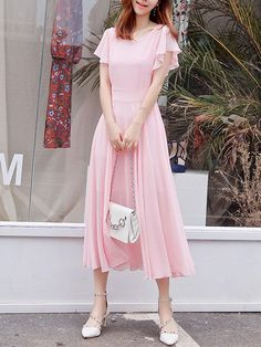 Fashionmia - Fashionmia Round Neck Plain Ruffle Sleeve Chiffon Maxi Dress - AdoreWe.com