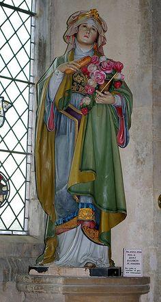St Elizabeth of Hungary - St Nicholas Church, Blakeney, Norfolk ♡ Catholic Art, Catholic Saints, Roman Catholic, St Nicholas Church, Saint Nicholas, Religious Images, Religious Art, Saint Elizabeth Of Hungary, St Clare's