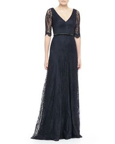 Lace Elbow-Sleeve Gown  by Theia by Don O\'Neill at Neiman Marcus.