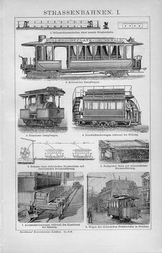1899 Old Street Railroad Tram Antique Engraving Print | eBay