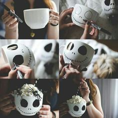 Totally making these Nightmare before Christmas mugs for Halloween! Totally making these Nightmare before Christmas mugs for Halloween! Disney Diy, Fröhliches Halloween, Holidays Halloween, Halloween Pictures, Halloween Makeup, Diy Halloween Gifts, Dollar Store Halloween, Jack Skellington, Holiday Crafts