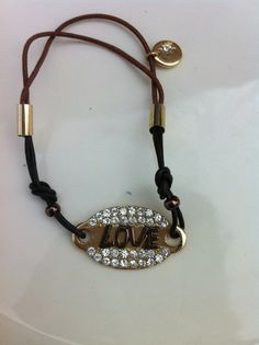 LOVE Inscripted Bracelet with Rhinestone by GlitzGlamourandBling, $12.00