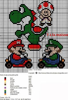 mario bros cross stitch - could do this with hama beads Cross Stitch For Kids, Cross Stitch Charts, Cross Stitch Patterns, Mario E Luigi, Mario Bros, Mario Brothers, Mario Kart, Super Mario, Cross Stitching