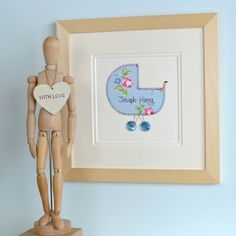 Personalised Embroidered New Baby Artwork