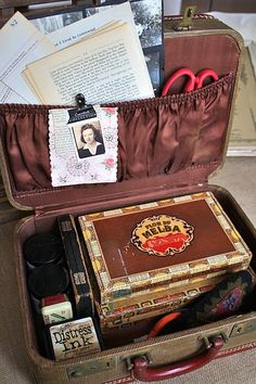 craft suitcase, omg my name is in it!!!!  GOING TO TRY THIS FOR MY FAMILY TREE STUFF!!