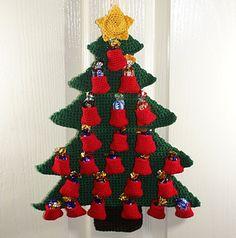 Free Christmas Tree Advent Calendar Crochet Pattern by Sarah Freeman - Spins and Needles. (40cm tall)