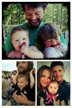Too cute: the babies of Supernatural: Maison and West Collins, Thomas Padalecki & JJ Ackles. aww so cute :') Jared Padalecki, Thomas Padalecki, Misha Collins, West Collins, Jensen Ackles, Jared And Jensen, Destiel, Johnlock, Winchester Boys