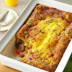Brunch Egg Bake Recipe -Here's an easy, tasty dish to make for company that still allows you to spend plenty of time with your guests. I grew up in the heart of Pennsylvania Dutch Country, and food was always the center of attention at our family get-togethers. We think brunch is the best meal of the day to gather and enjoy. —Gloria Rohlfing, York, Pennsylvania
