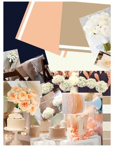 Here are my wedding colors!!! Navy, light peach, khaki, and ivory! I created this collage btw ;)