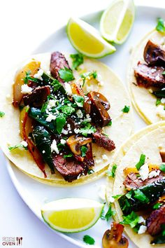 Steak, Poblano & Mushroom Tacos -- ready to go in less than 30 minutes, and soooooo good! gimmesomeoven.com #mexican #glutenfree #recipe