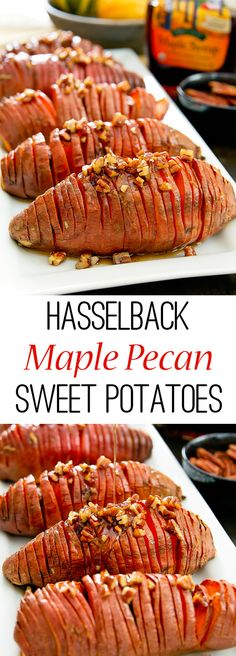 Hasselback Maple Pecan Sweet Potatoes. A fun and healthier alternative to sweet potato casserole for Thanksgiving.