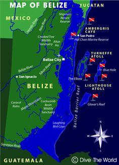 Mapa de Belice: Ambergris Caye, Atolón Turneffe, Lighthouse Reef, Gran Agujero…
