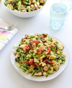 BBQ Chicken Chopped Salad with Grilled Garlic Croutons