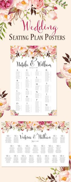 Reception Seating Chart Posters ready in 24 Hours. Available in either table number or alphabetical in both landscape and portrait layouts. You simply send your guest list after purchase and 24 hours later you will have your ready to print poster.