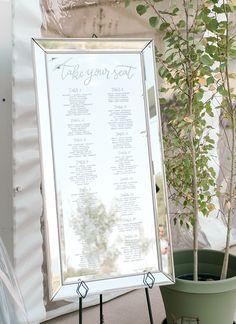 Romantic Blush Wedding in Steamboat Hand Lettered Mirror Seating Chart Mirror Seating Chart, Reception Seating Chart, Table Seating Chart, Wedding Reception Seating, Seating Chart Wedding, Wedding Signage, Wedding Decor, Banquette Seating In Kitchen, Wedding Mirror