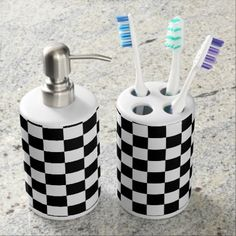 Chess Board Black and White Tiles Soap Dispenser & Toothbrush Holder - white gifts elegant diy gift ideas