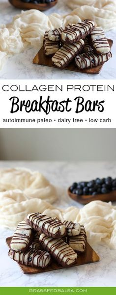 Get this Paleo & AIP friendly recipe for Collagen Protein Breakfast Bars. The recipe is gluten free, egg free, nut free, refined sugar free, dairy free, grain free, and AIP. Get the full recipe here.