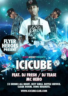Icy Cube Hip Hop Free Flyer Template - http://ffflyer.com/icy-cube-hip-hop-free-flyer-template/ Icy Cube is mash up of energetic 3D elements and classic R&B style. The design is clad with glimmering 3D elements like diamonds, private jets and ice.   #Black, #Dj, #Electro, #Flyer, #Music, #Nightclub, #Orange, #Party, #Urban