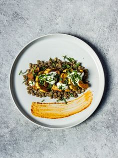 Harissa-Cumin Roasted Delicata Squash over Lentils, Yogurt + Mint