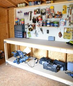 Outdoor Shed Organization - Beneath My Heart How to easily build a work bench using Simpson Strong T Tool Shed Organizing, Storage Shed Organization, Garden Storage Shed, Outdoor Storage Sheds, Storage Shed Plans, Outdoor Sheds, Built In Storage, Garage Storage, Kitchen Storage