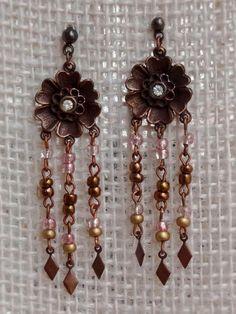 Brincos Flor Cobre Rosa - Coppery Blush Flower Earrings