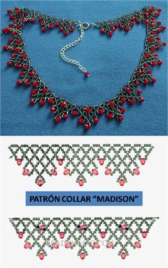 Beaded Necklace Patterns, Seed Bead Patterns, Bracelet Patterns, Beaded Necklaces, Loom Patterns, Necklace Designs, Necklace Ideas, Diy Necklace, Knitting Patterns